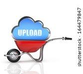 concept. red wheelbarrow with... | Shutterstock . vector #164479847