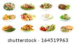 collage of delicious dishes... | Shutterstock . vector #164519963