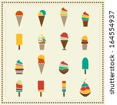 vintage retro ice cream icons | Shutterstock .eps vector #164554937