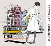 vector illustration of a pretty ... | Shutterstock .eps vector #164561333