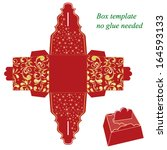 red gift box template with... | Shutterstock .eps vector #164593133
