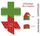 christmas gift box template... | Shutterstock .eps vector #164593163