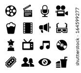 movie icons set   Shutterstock .eps vector #164599277