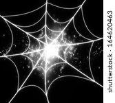 halloween spider web on a dark... | Shutterstock . vector #164620463