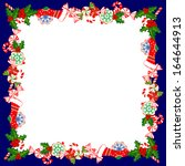 christmas frame with holly... | Shutterstock .eps vector #164644913