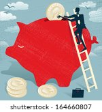 abstract businessman saves... | Shutterstock .eps vector #164660807