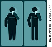 Before and after a diet, silhouette of man, vector image.