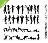 Sexy women adn dancing silhouettes vector set 14