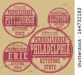 Grunge rubber stamp set with names of Pennsylvania cities, vector illustration