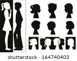 children silhouettes and banner  | Shutterstock .eps vector #164740403