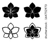 Four Orchid Silhouettes For...