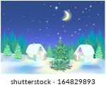 small houses in the woods in...   Shutterstock .eps vector #164829893