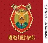 hipster christmas reindeer  ... | Shutterstock .eps vector #164858513