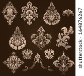 vector set of damask ornamental ... | Shutterstock .eps vector #164876267