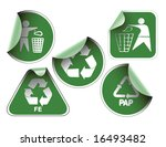 set of green labels badges and... | Shutterstock .eps vector #16493482