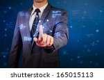 business man and network... | Shutterstock . vector #165015113