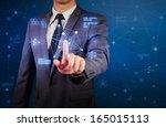 business man and network... | Shutterstock . vector #165015113