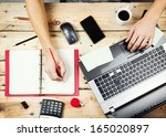 workplace  man working on the... | Shutterstock . vector #165020897