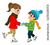 kids practicing ice skate... | Shutterstock .eps vector #165028553