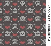 knitted seamless pattern with... | Shutterstock .eps vector #165077387
