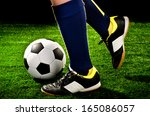 Soccer Player Feet With Ball...