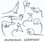 doodle rats set | Shutterstock .eps vector #165095447
