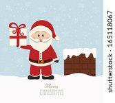 santa hold gift on snowy roof | Shutterstock .eps vector #165118067