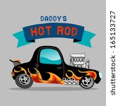 a hot rod car with flame paint | Shutterstock . vector #165133727