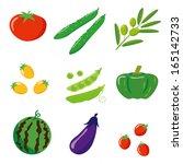 vegetable icon set | Shutterstock .eps vector #165142733