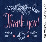 thank you card with heart ... | Shutterstock .eps vector #165191777