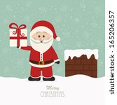 santa hold gift on snowy roof | Shutterstock .eps vector #165206357