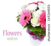 beautiful bouquet of flowers in ... | Shutterstock . vector #165264053