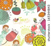 floral backgrounds with cute... | Shutterstock .eps vector #165344843