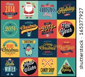 christmas set   labels  emblems ... | Shutterstock .eps vector #165377927