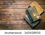 Top View Of Ancient Books On...