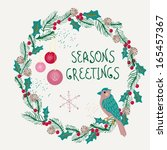 christmas wreath with bird and... | Shutterstock .eps vector #165457367