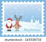 santa and deer.vector... | Shutterstock .eps vector #165538733