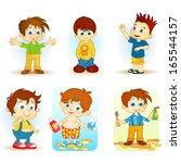 cartoon school kids | Shutterstock .eps vector #165544157