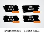 set of paint brush banners  ... | Shutterstock . vector #165554363