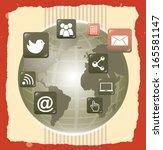 social network over lineal ... | Shutterstock .eps vector #165581147