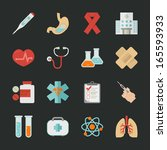 medical and health  icons with... | Shutterstock .eps vector #165593933