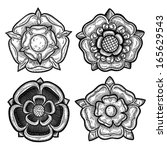 Set Of Four Heraldic Roses....