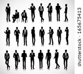 Set of business men silhouettes on background