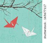 paper cranes | Shutterstock .eps vector #165677117