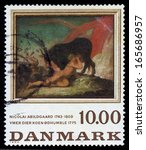 Small photo of DENMARK - CIRCA 1984: A stamp printed in Denmark shows a painting by danish painter Nicolai Abraham Abildgaard, Ymir sucking the cow Audhumbla, circa 1984