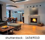 open space with fire place - stock photo
