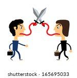 two people fighting with their tongues. vector