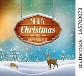 christmas landscape with wooden ... | Shutterstock .eps vector #165703073