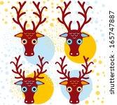 four brown deer on an orange... | Shutterstock . vector #165747887