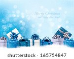 christmas blue background with... | Shutterstock .eps vector #165754847